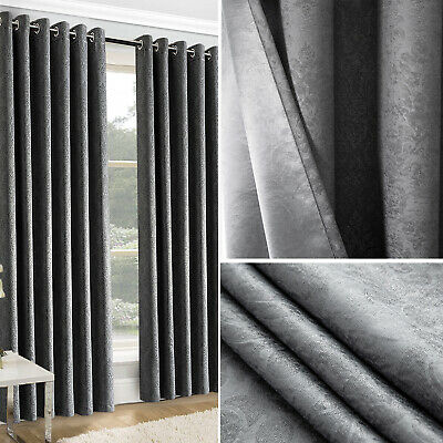 Thick Thermal Blackout Curtains Eyelet Ring Top Ready Made Pair Of Curtain Panel • 20.95£