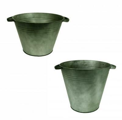 Vintage Green Round Galvanised Zinc Tapered Metal Plant Flower Planter Pot • 23.49£
