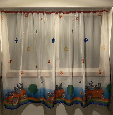 Disney Mickey Mouse Voile Net Curtain With Slot Top Red Ribbon And Blue Finish • 12.99£