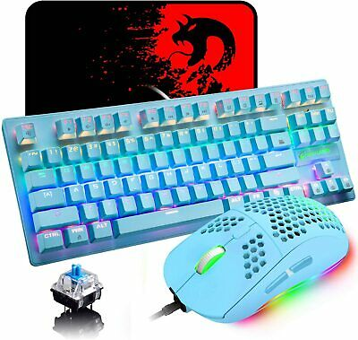 AU65.79 • Buy Mechanical Gaming Keyboard And Lightweight Honeycomb Mouse RGB Backlit +Mice Pad