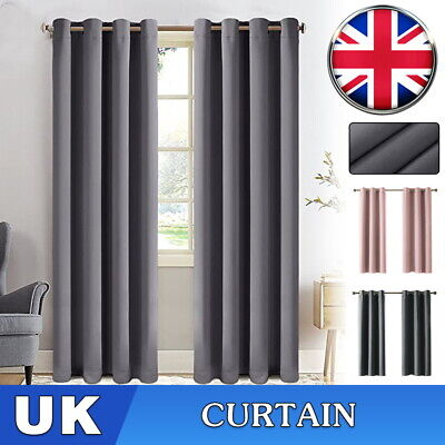 Pair Hotel Quality Thermal Blackout Curtains Eyelet Ready Made Ring Top Curtain  • 21.99£