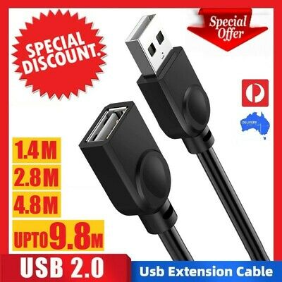 AU4.99 • Buy HIGH QUALITY UPTO10M USB Extension Data Cable 2.0 A Male To A Female Computer TV