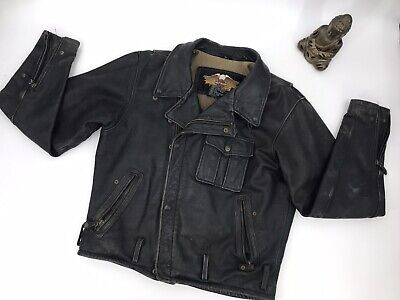 $ CDN126.87 • Buy Vintage Harley Davidson Leather Riding Jacket Size M Embroidered Logo Lined