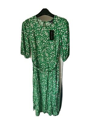 New Look Green Ditsy Floral Dress Midi Size 10 With Belt • 10.50£