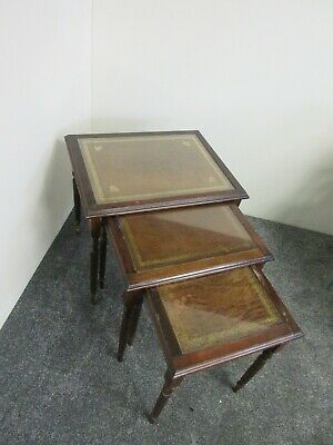 Vintage Nest Of Tables Leather Inlay And Glass Cover • 30£