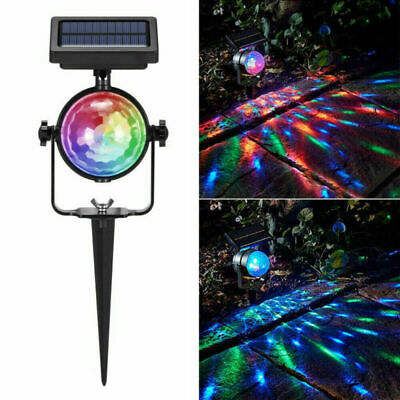 Solar LED Moving Colour Changing Rotating RGB Spotlight Garden Party Stage Light • 2.20£