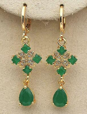 £12.99 • Buy ❤️Earrings 9ct Gold Classic Emeralds ❤️ Diamond Drop 47 Mm Mother Gift Silver ❤️
