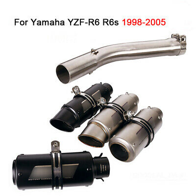 $96.80 • Buy For Yamaha YZF-R6 R6s 1998-2005 Motorcycle Exhaust System Mid Pipe 51mm Muffler