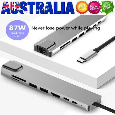 AU33.49 • Buy 8in1 Type-c USB3.0 Adapter PD Charging SD &TF Card Reader RJ45 Network Converter