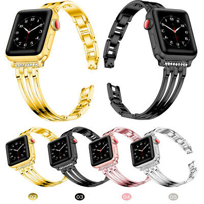 $ CDN15.06 • Buy For Apple Watch Band Series 6 5 4 3 2 1 44mm Bling Stainless Steel Watch Strap