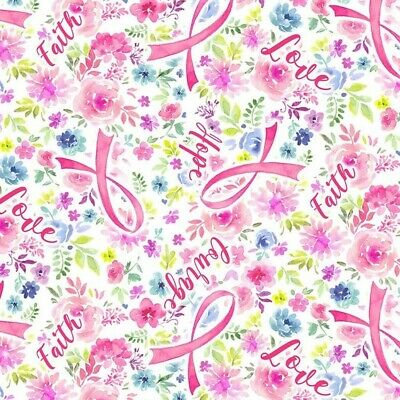 £0.99 • Buy 100% Cotton Fabric Timeless Treasures Pink Ribbon Breast Cancer Awareness