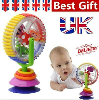 UK Toddler Rainbow Ferris Wheel Baby Toy Rattle Clanking Suction High Chair Toys • 6.99£
