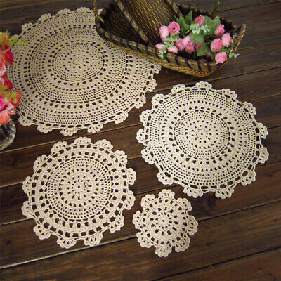 £7.19 • Buy Set Of 4 Flower Placemats Round Table Mats Vintage Hand Crochet Lace Doilies
