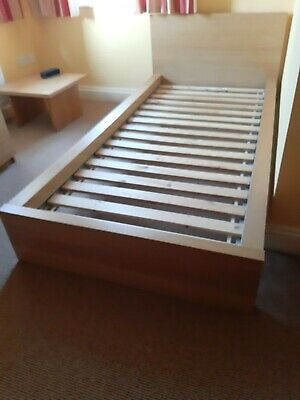 Ikea Single Bed Frame In Oak, Used And In Good Condition • 10£