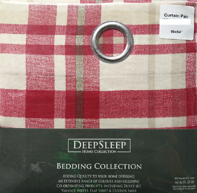 RING TOP RED MULTI CHECK FULLY LINED HEAVY QUALITY CURTAINS 66x54 INCHES • 15.99£