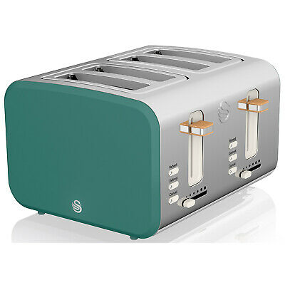 £76.50 • Buy Swan 4 Slice Green Nordic Style Defrost Reheat Removable Crumb Tray Loaf Toaster