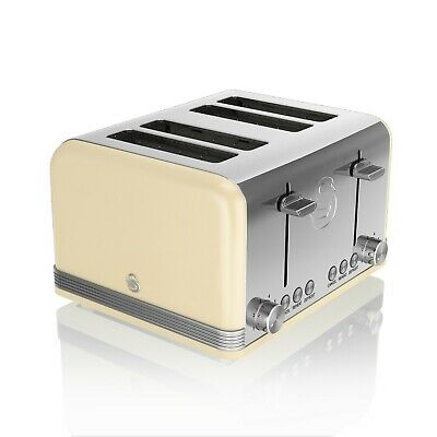 £56.95 • Buy Swan 4 Slice Retro Cream Stainless Steel Bread Loaf Toast Toaster Defrost Reheat