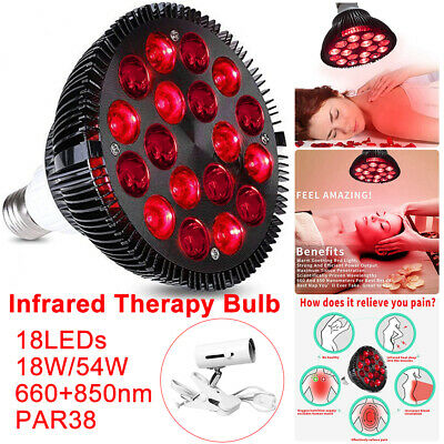 LED Light Therapy Bulb 660nm Red & 850nm Near Infrared Combo 18W 54W Pain Relief • 19.69£