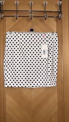 White Polka Dot Mini Skirt - Size Large, 12 • 12£