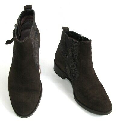 £38.68 • Buy Desigual Boots Lady Horse Riders Leather Suede Brown And Textile Zip 37 Mint