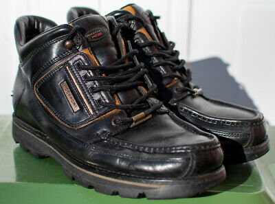 Mens Rockport Umbwe Boots Made In Portugal Black Gold Uk Size 10 • 59.99£