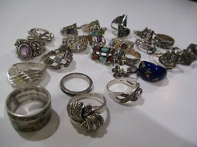 $ CDN16.21 • Buy Large Collection Sterling Silver Chunky Ornate Ring Designer  925 Lot Jewelry
