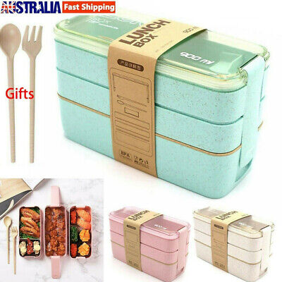 AU11.69 • Buy 3-Layer Bento Box Microwave Lunch Box Eco-Friendly Leakproof Food Container