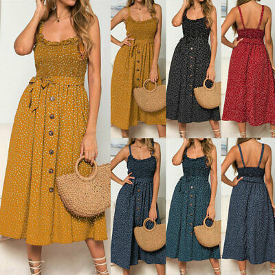 Women Sleeveless Polka Dot Spring Long Dress Ladies Belt Strappy Holiday Dresses • 7.99£