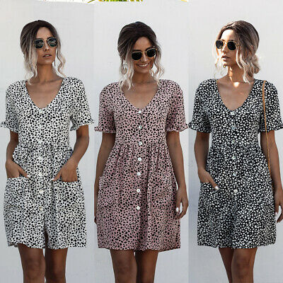 UK Womens Summer Short Sleeve Dress Ladies Polka Dot Print Short A Line Dresses • 10.99£