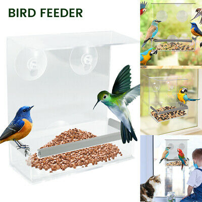 £6.99 • Buy Window Bird Feeder Wild Table Hanging Suction Perspex Clear Viewing Seed Nut UK