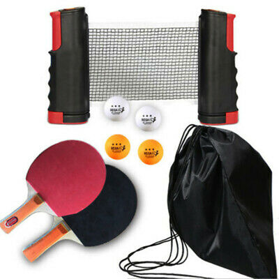 Table Tennis Kit Ping Pong Set Portable Retractable Net 2 Bats+ 3Ping Pong Balls • 9.99£