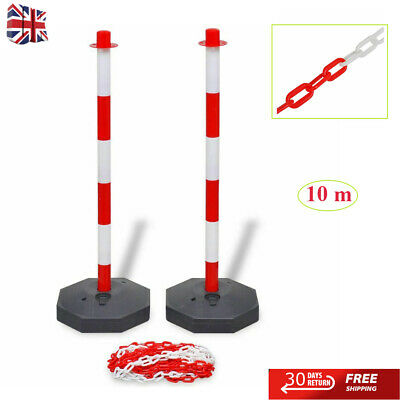 £37.13 • Buy 10 M Chain Post Set Plastic Warning Chain Security Bollards Safety Barrier Road