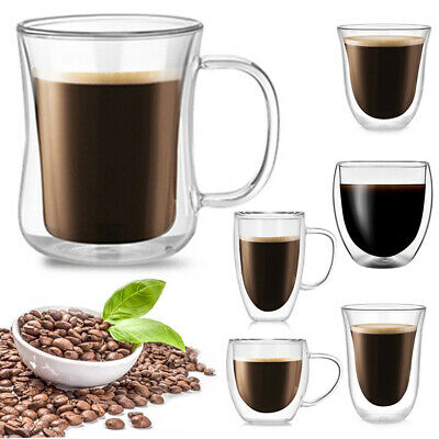 £6.59 • Buy Double Walled Latte Glasses Cups Tea Coffee Heat-resistant Clear Glass Cups Mugs