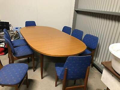 AU150 • Buy Dining Table, Extendable Seats 4 - 8 With Chairs, Full Timber With Blue Chairs