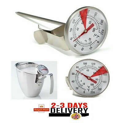 £5.69 • Buy Milk Frothing Thermometer Coffee Maker Temperature Jug Pan Clip On Steel Pod UK.