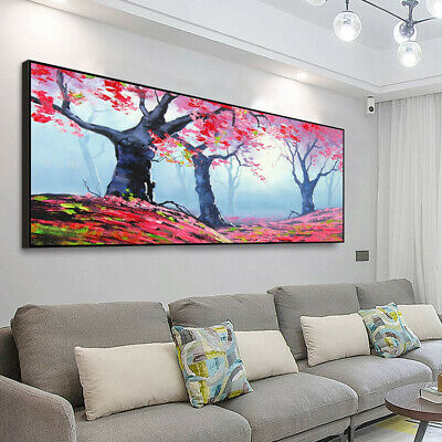 Large Tree Pink Red Leaves Canvas Wall Art Picture Print Living Room Home Decor • 8.99£