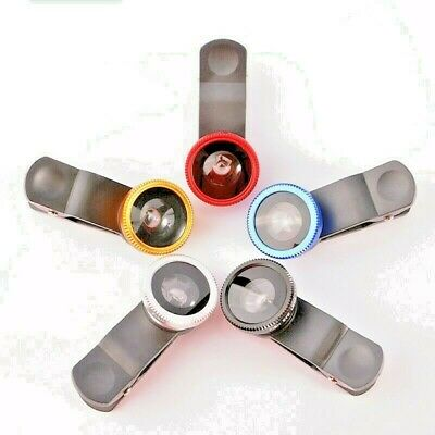 £2.97 • Buy Universal 3in1 Clip On Camera Lens Kit Wide Angle Fish Eye Macro For Smart Phone