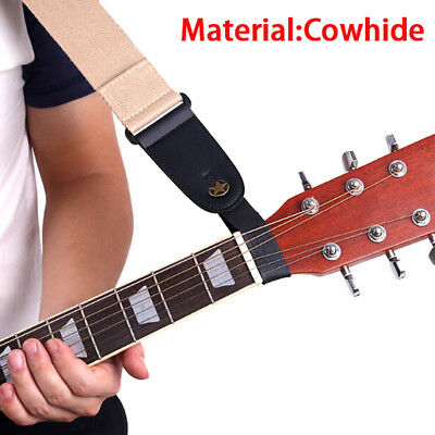 $ CDN1.42 • Buy 1x Black Leather Guitar Strap Holder Button Safe Lock For Acoustic Electric BaS5