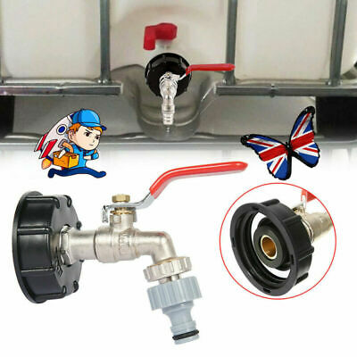 1x IBC Tank Cap Adapter With Brass Tap & 1/2  Snap On Hose Connector Ton Valve • 9.99£