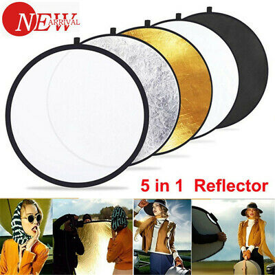 5 In 1 Photography Round Reflector Collapsible Photo Studio Background Lighting • 9.99£