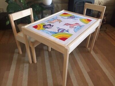 Children's Table And Chair Set - Hand Painted Table Top And Personalised Chairs • 69£
