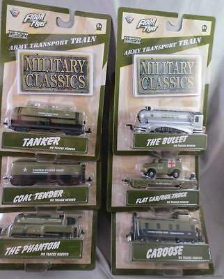 $39.99 • Buy LOT SET OF 6 ARMY MILITARY TRANSPORT TRAINS Gearbox Floor Flyer Bullet Die Cast