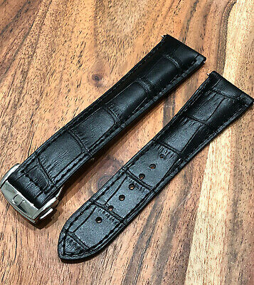 Omega Genuine Leather Moon Watch Strap Rubber 22mm Black Mens Deploy Buckle Band • 49.99£