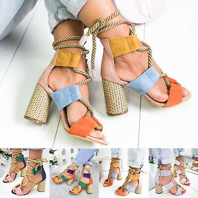 £18.49 • Buy Women Lady Strappy Sandals Mid Block High Heel Tie Up Ankle Strap Open Toe Shoes