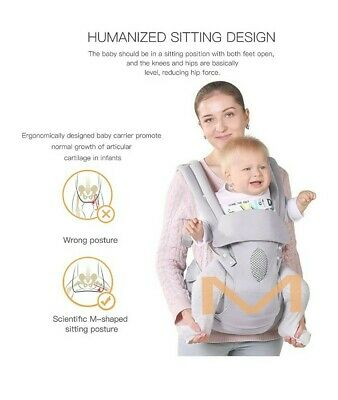 Tiancaiyiding - Grey Baby Carrier, Adjustable Hip Seat/Hood, Infant, Toddler • 16£