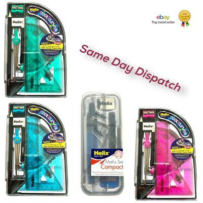£4.99 • Buy HELIX Compact Maths Geometry Set With Compass Ruler Protractor Squares Sharpener