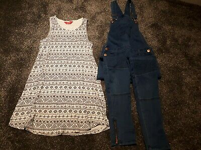 Girls Clothes Bundle Dress & Dungarees Age 11-12 Years • 4£