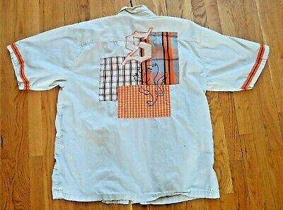 AU47.61 • Buy SNOOP DOGG Clothing Co. XXL Patchwork Spell Out Stripe Orange Cream Button Shirt
