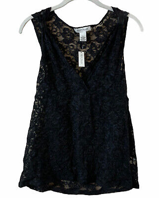 $ CDN17.75 • Buy White House Black Market Blouse Size Large Womens Black Sleeveless Lace NWT