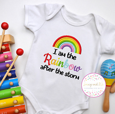 £8.99 • Buy Baby Vest, Rainbow Baby, I Am The Rainbow After The Storm, Embroidered Design
